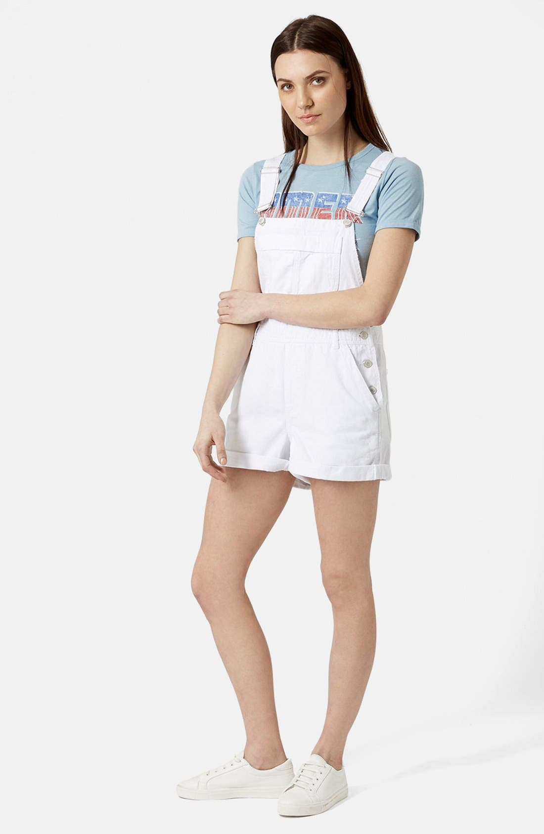 Alternate Image 4  - Topshop Moto Dungaree Short Overalls (White)