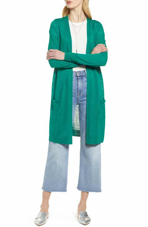 95cf758466 Halogen® Long Linen Blend Cardigan (Regular   Petite)