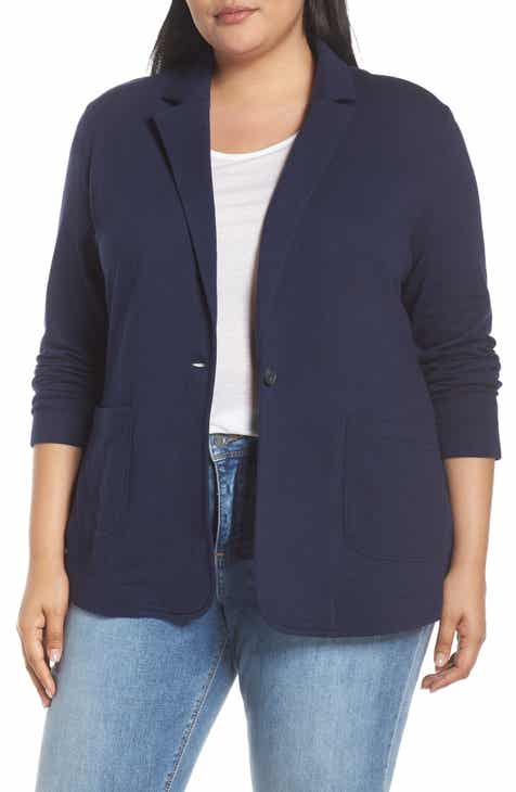 Caslon® Double Pocket Knit Blazer (Plus Size) by CASLON