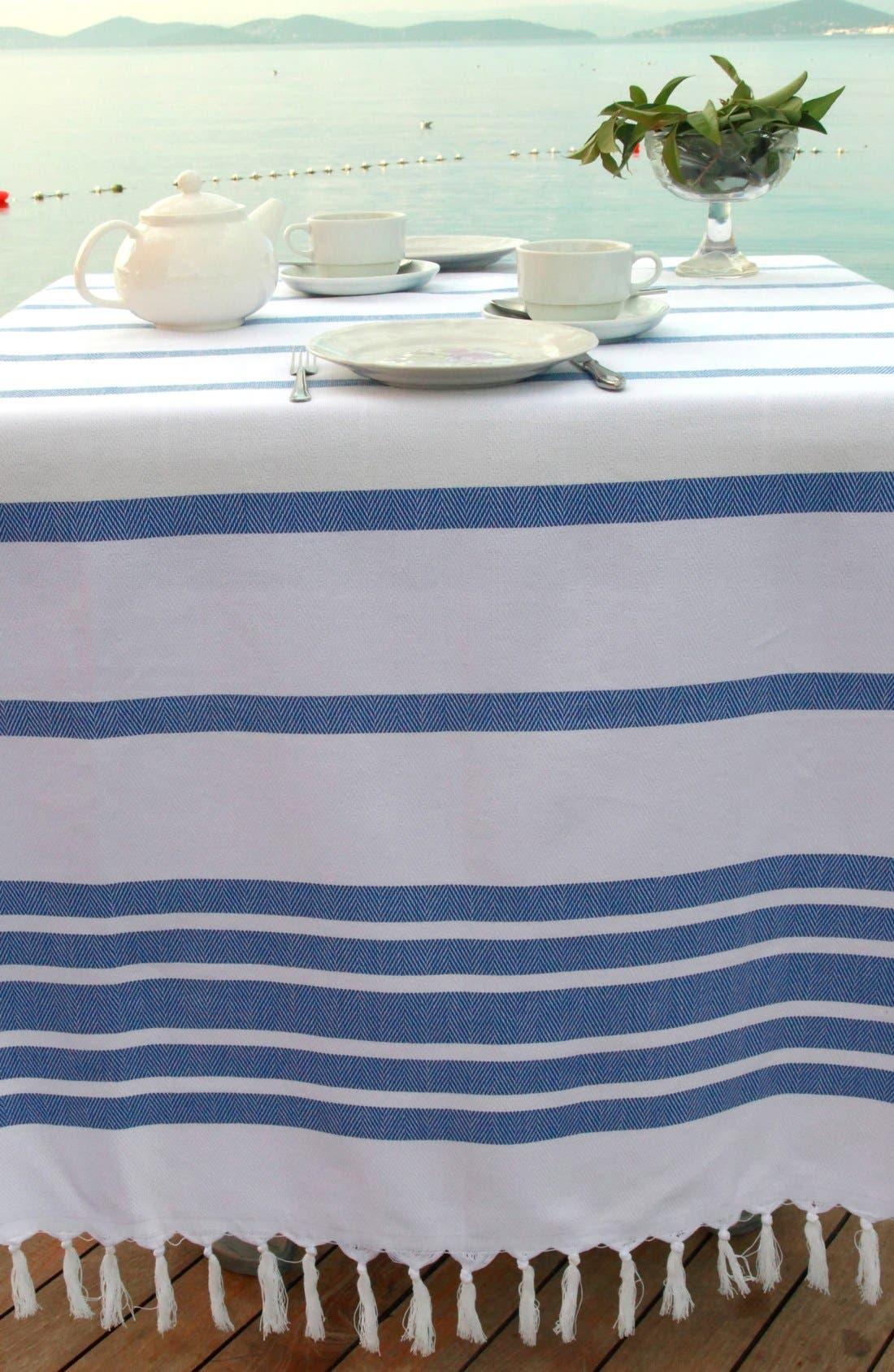 Herringbone Striped Turkish Pestemal Towel,                             Alternate thumbnail 4, color,                             Royal Blue/ White