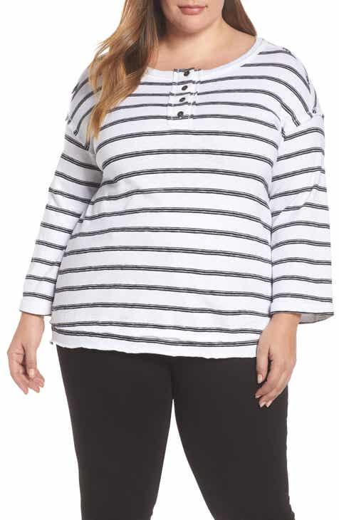 Caslon® Striped Henley (Plus Size)