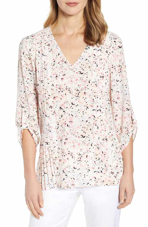 Chaus Pintuck Detail Textured Crepe Blouse