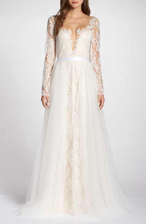 0b84263ba8a Tadashi Shoji Lace Appliqué V-Neck Wedding Dress with Overskirt