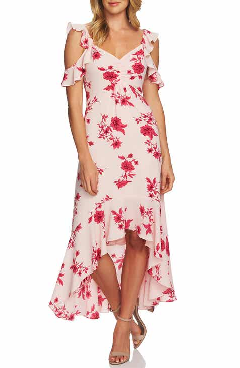 86f0e5063cd Cece Etched Floral High Low Midi Dress
