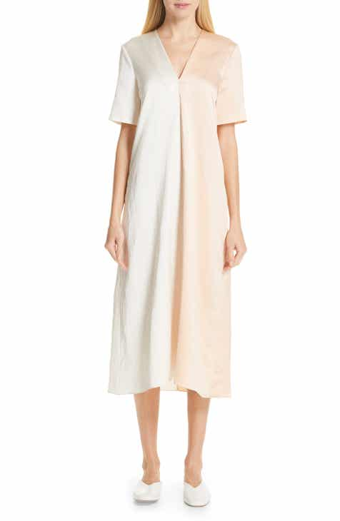Partow Two-Tone Sateen Midi Dress by PARTOW
