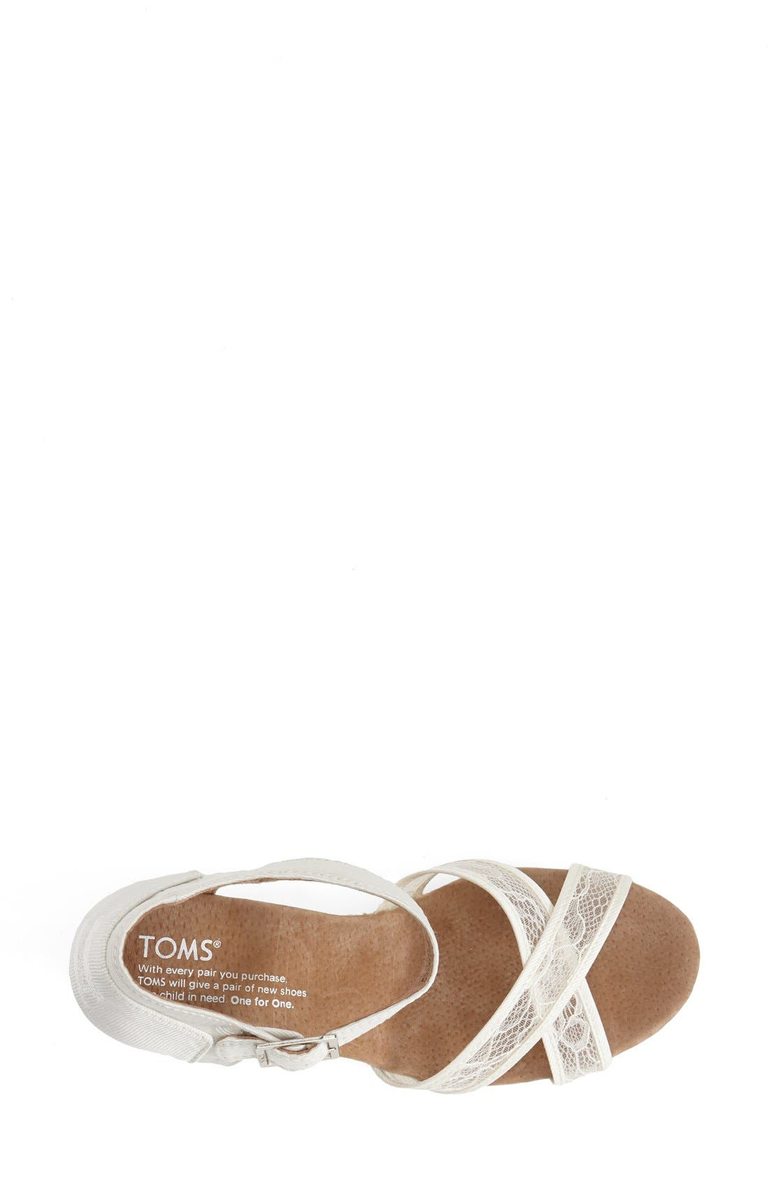 Alternate Image 3  - TOMS Lace & Grosgrain Ribbon Wedge Wedding Sandal (Women)