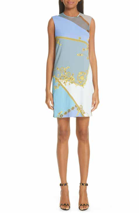 532833c123e Versace Collection Mesh Inset Barocco Print Dress