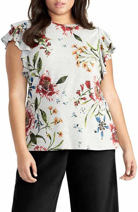 a322a4c1b36 RACHEL Rachel Roy Iris Flounce Sleeve Top (Plus Size)