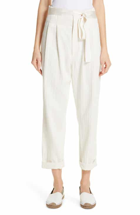 Brunello Cucinelli Paperbag Waist Chevron Weave Cotton & Linen Pants by BRUNELLO CUCINELLI