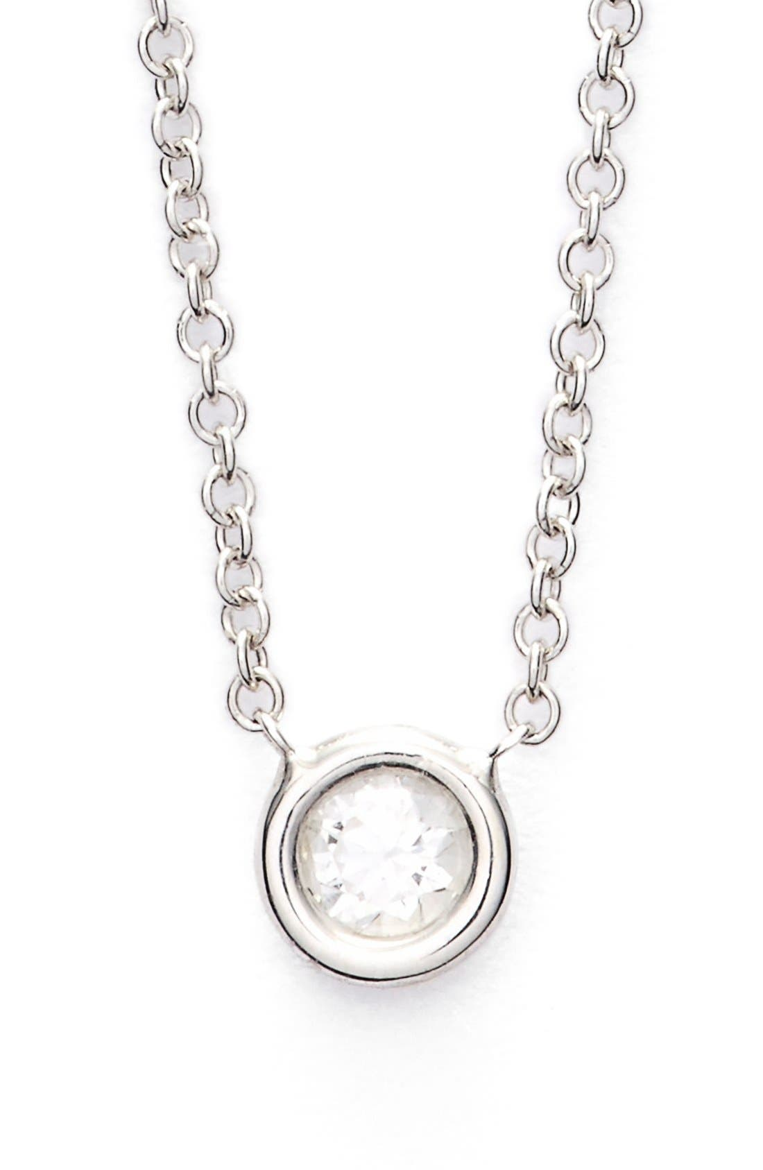 Small Diamond Solitaire Pendant Necklace,                         Main,                         color, White Gold