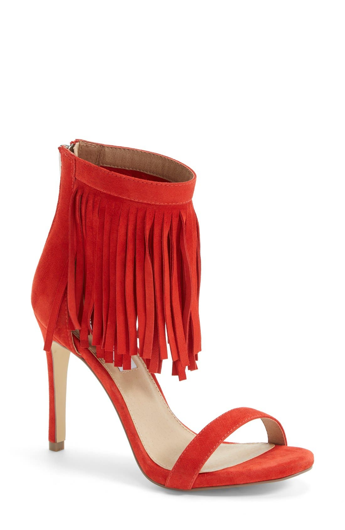 'Staarz' Ankle Fringe Sandal,                             Main thumbnail 1, color,                             Coral Suede