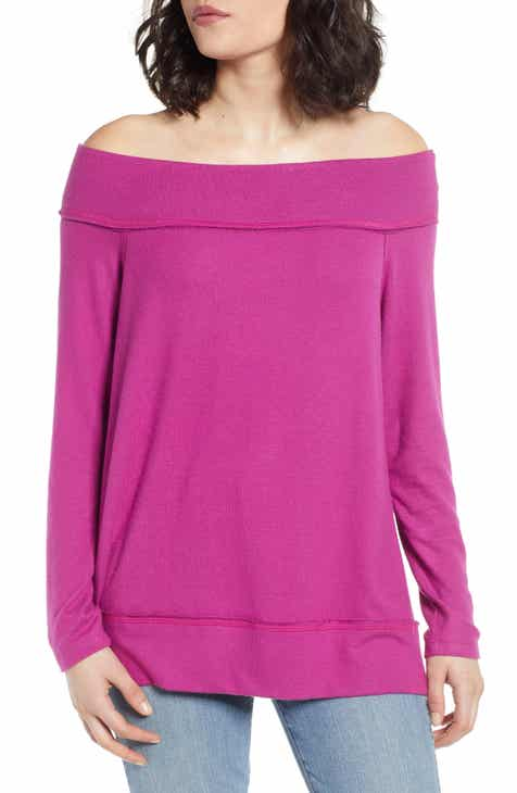 552a85ffa6f32 Gibson x Living in Yellow Mary Fleece Off the Shoulder Top (Regular    Petite) (Nordstrom Exclusive)