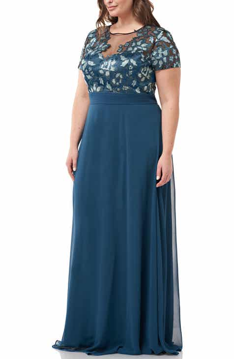20227ab18a5 JS Collections Embroidered Bodice Evening Dress (Plus Size)