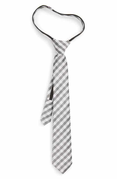 Nordstrom Grover Check Silk Zip Tie (Big Boys)