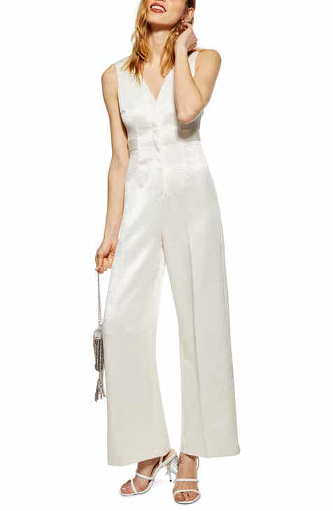 Topshop Sleeveless Satin Twill Jumpsuit by TOPSHOP