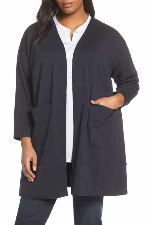 0c727fcbcff Eileen Fisher Stretch Cotton Long Jacket (Plus Size)