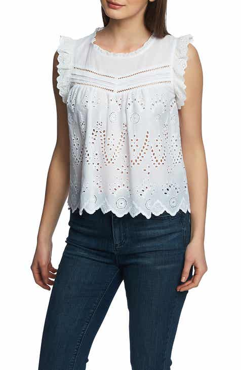 93e2673b0ef10e STATE Embroidered Cotton Eyelet Sleeveless Top