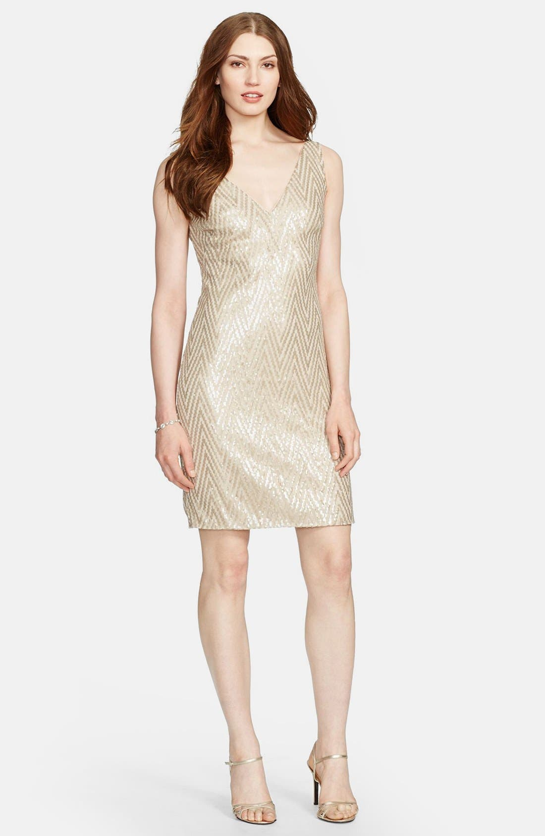 Main Image - Lauren Ralph Lauren Chevron Sequin Sleeveless Dress