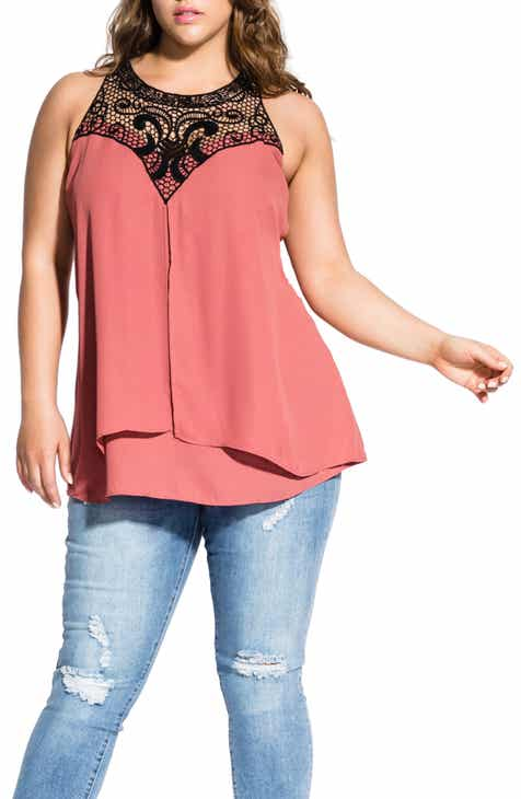 c27d1dadbabfc City Chic Layered Motif Lace Detail Tiered Top (Plus Size)
