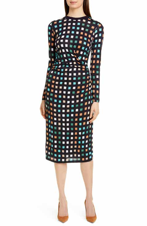 54f0ce68e79b BOSS Esetta Cube Print Long Sleeve Midi Dress