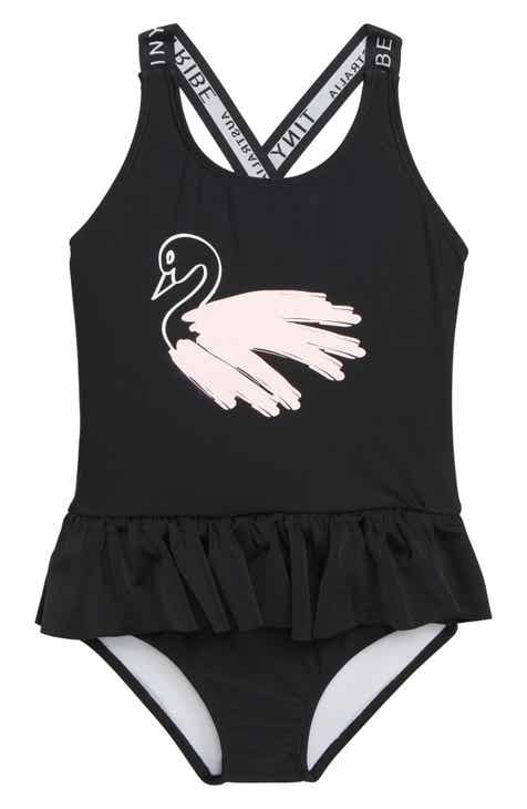 TINY TRIBE Swan Skirted One-Piece Swimsuit (Toddler Girls & Little Girls)