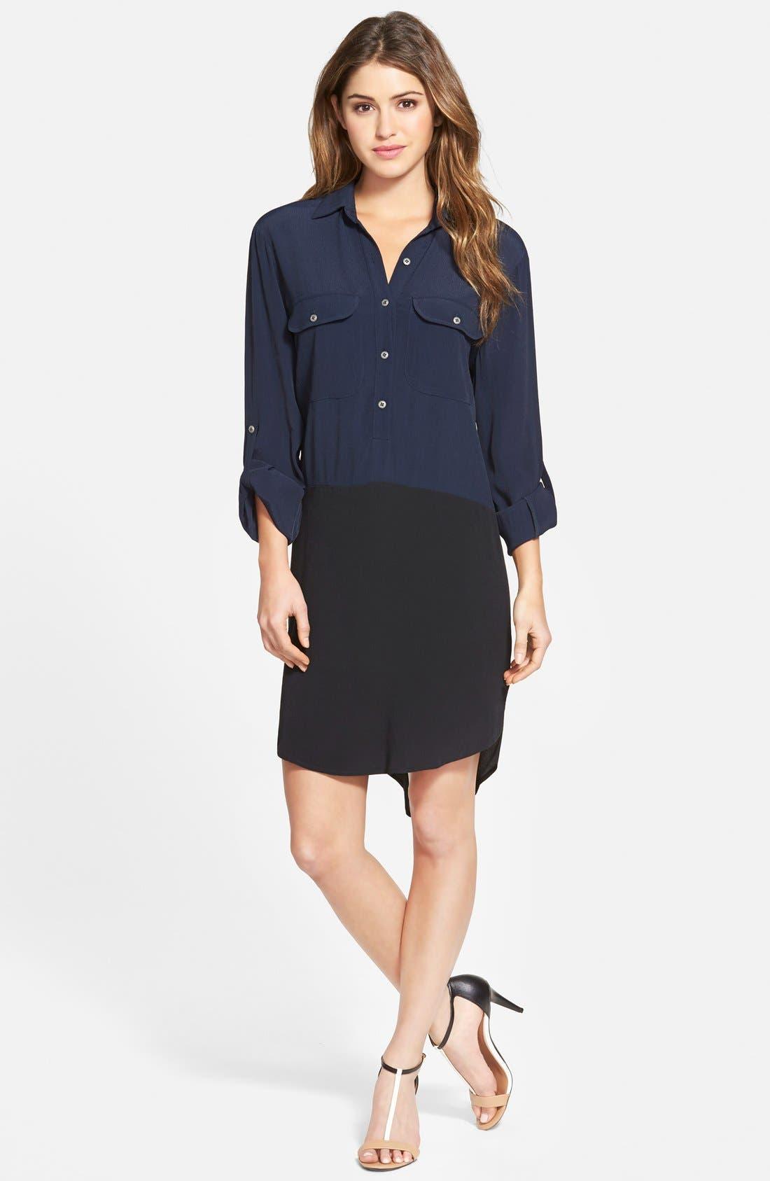 Colorblock Shirtdress,                         Main,                         color, Navy/ Black