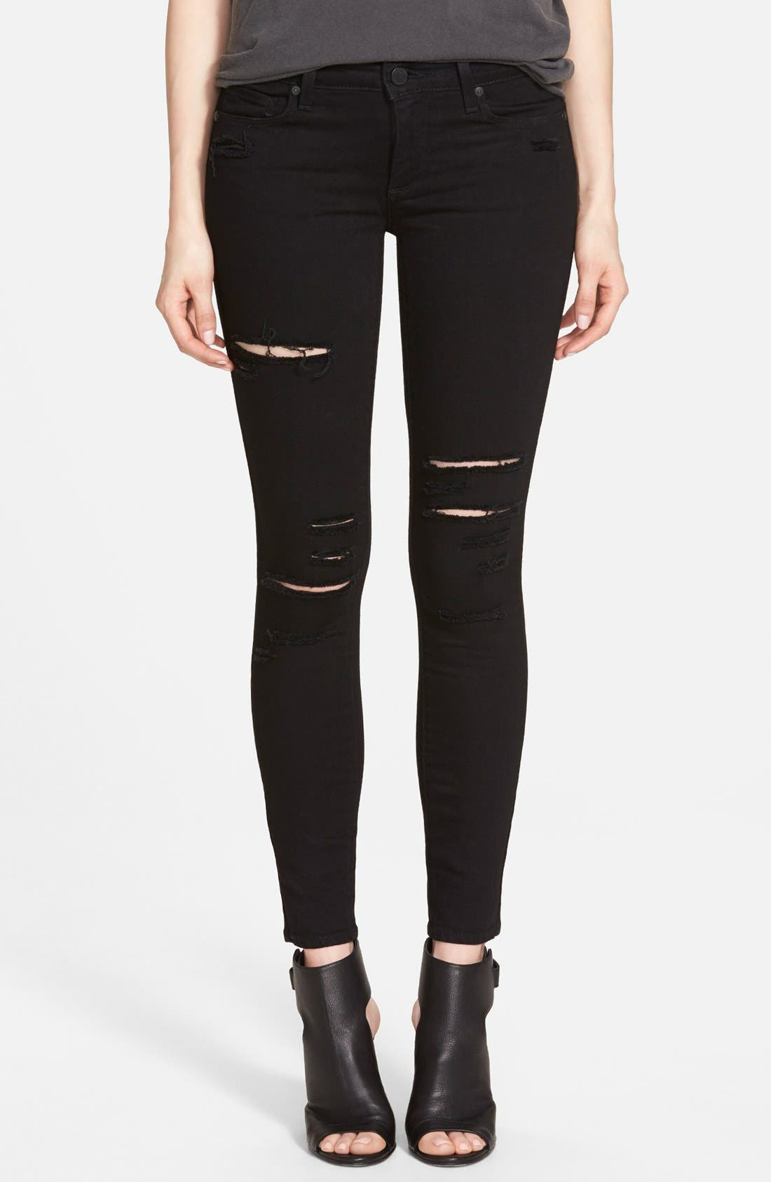 Alternate Image 1 Selected - Paige Denim 'Verdugo' Ankle Ultra Skinny Jeans (Black Arlo Destructed)