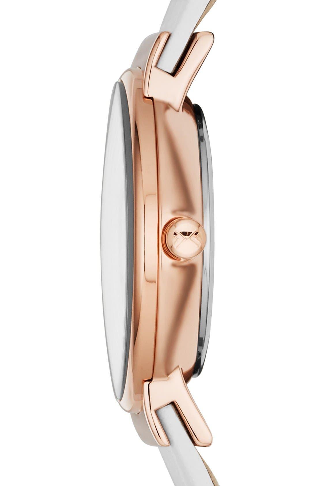 Alternate Image 3  - Skagen 'Ancher' Crystal Index Leather Strap Watch, 26mm (Nordstrom Exclusive)