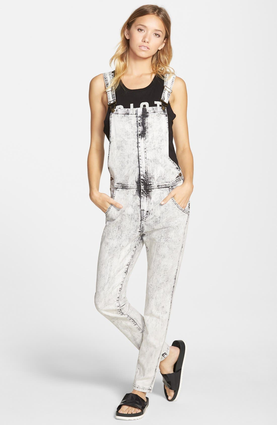 Alternate Image 1 Selected - Lee Cooper Denim Overalls (White)