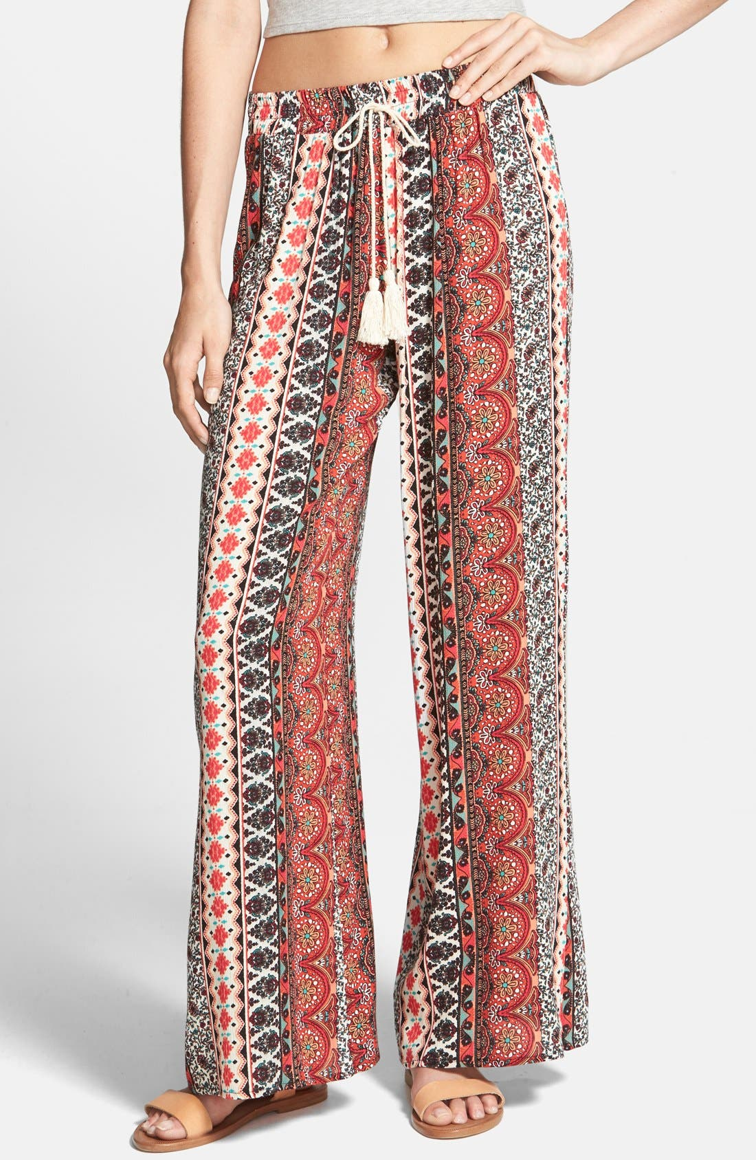 Alternate Image 1 Selected - h.i.p. Print Gauze Palazzo Pants (Juniors)