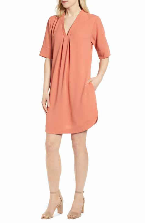 0385528956 Bobeau Pleat Front Curved Hem Shirtdress (Regular & Petite)