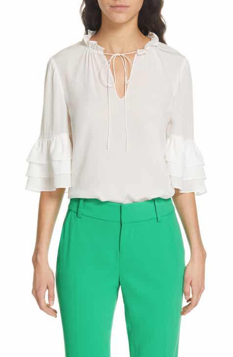 282b4d133 Alice + Olivia Julius Tier Sleeve Silk Tunic