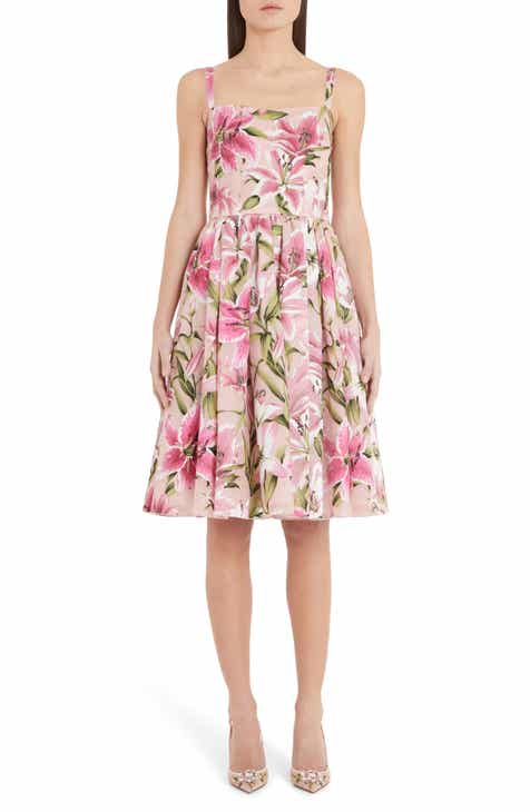 3272c66e2f Dolce&Gabbana Lily Print Silk Organza Fit & Flare Dress