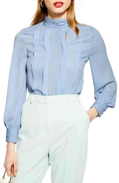 edf7cfa319a87 Topshop Pleated Button Blouse