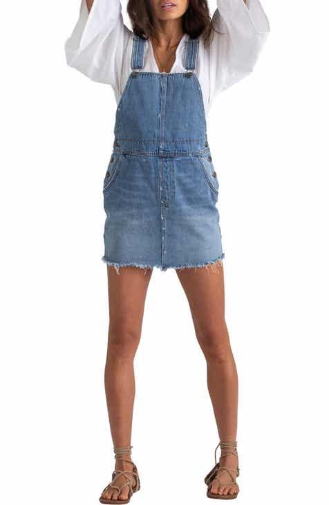 5e395a72088 Billabong x Sincerely Jules Fade Away Denim Pinafore Dress