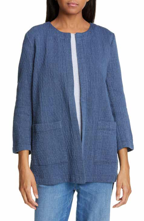Eileen Fisher Quilted Cotton & Linen Jacket (Regular & Petite) by EILEEN FISHER