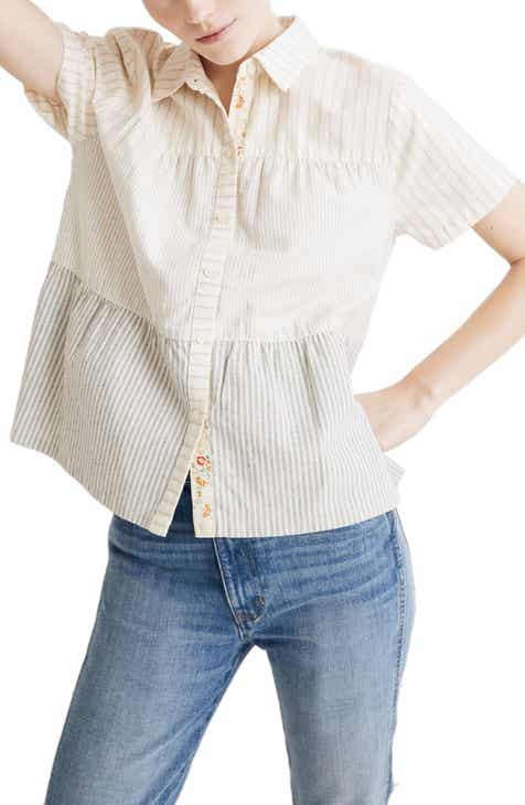 4ed89d4759df3 Madewell x The New Denim Project® Stripe Mix Seamed Button Down Shirt