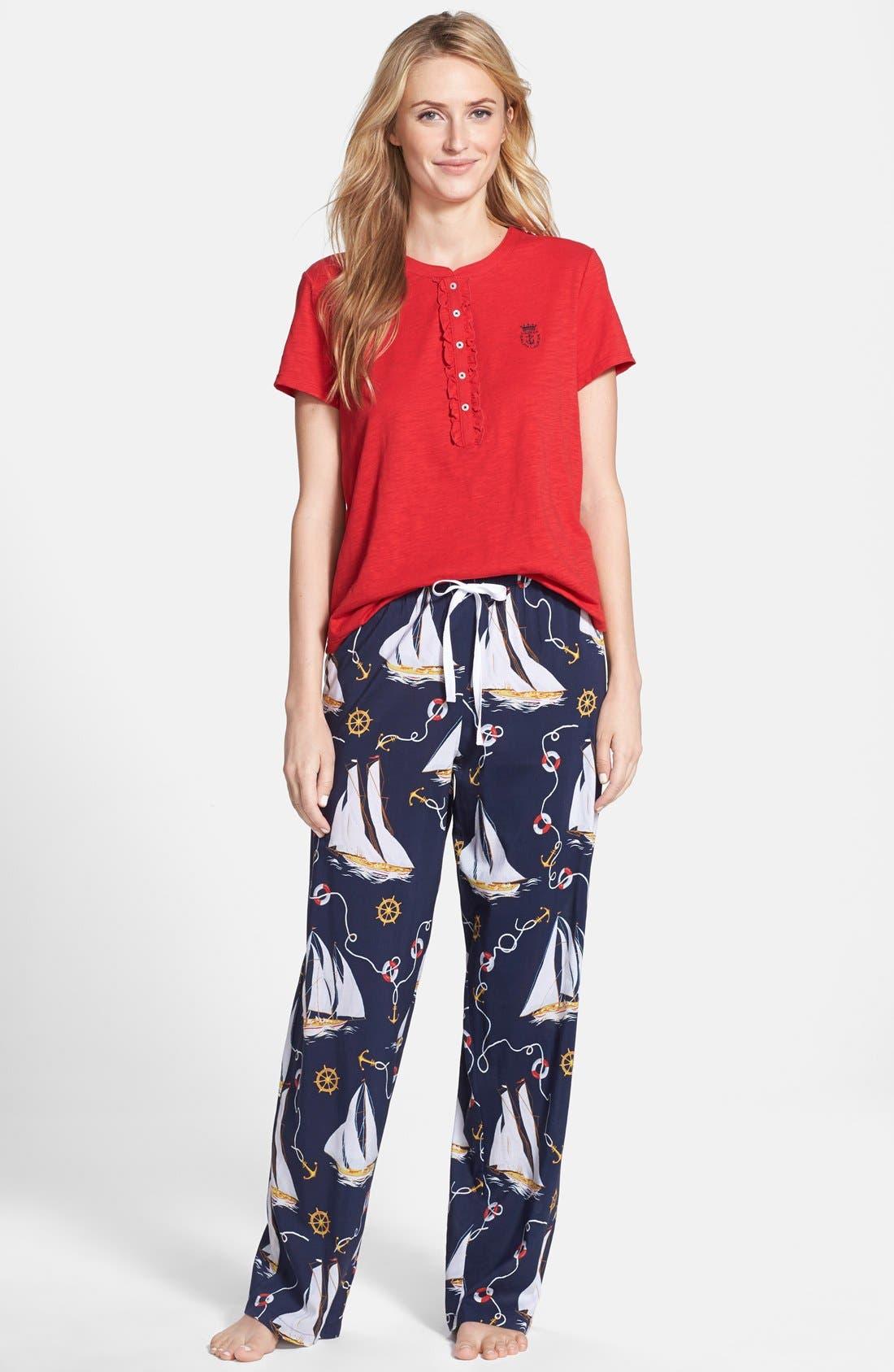 Alternate Image 1 Selected - Lauren Ralph Lauren Short Sleeve Pajamas