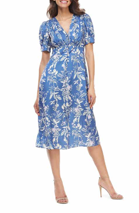 Gal Meets Glam Collection Lauren Botanical Garden Print Midi Dress (Nordstrom Exclusive)