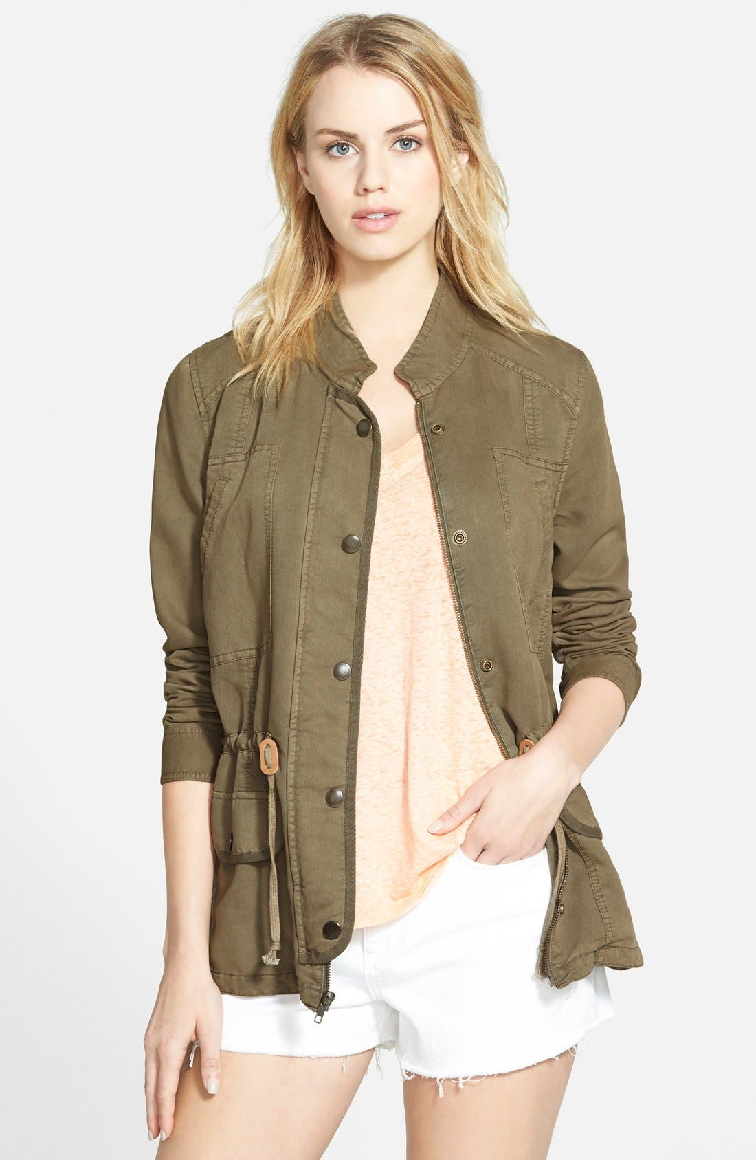 Drapey Military Jacket,                         Main,                         color, Washed Olive Covert
