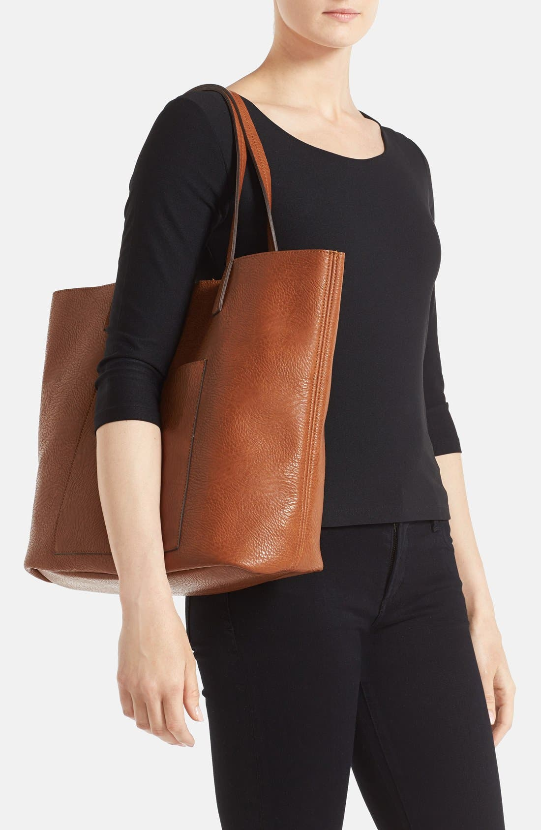 Faux Leather Pocket Tote,                             Alternate thumbnail 2, color,                             Cognac