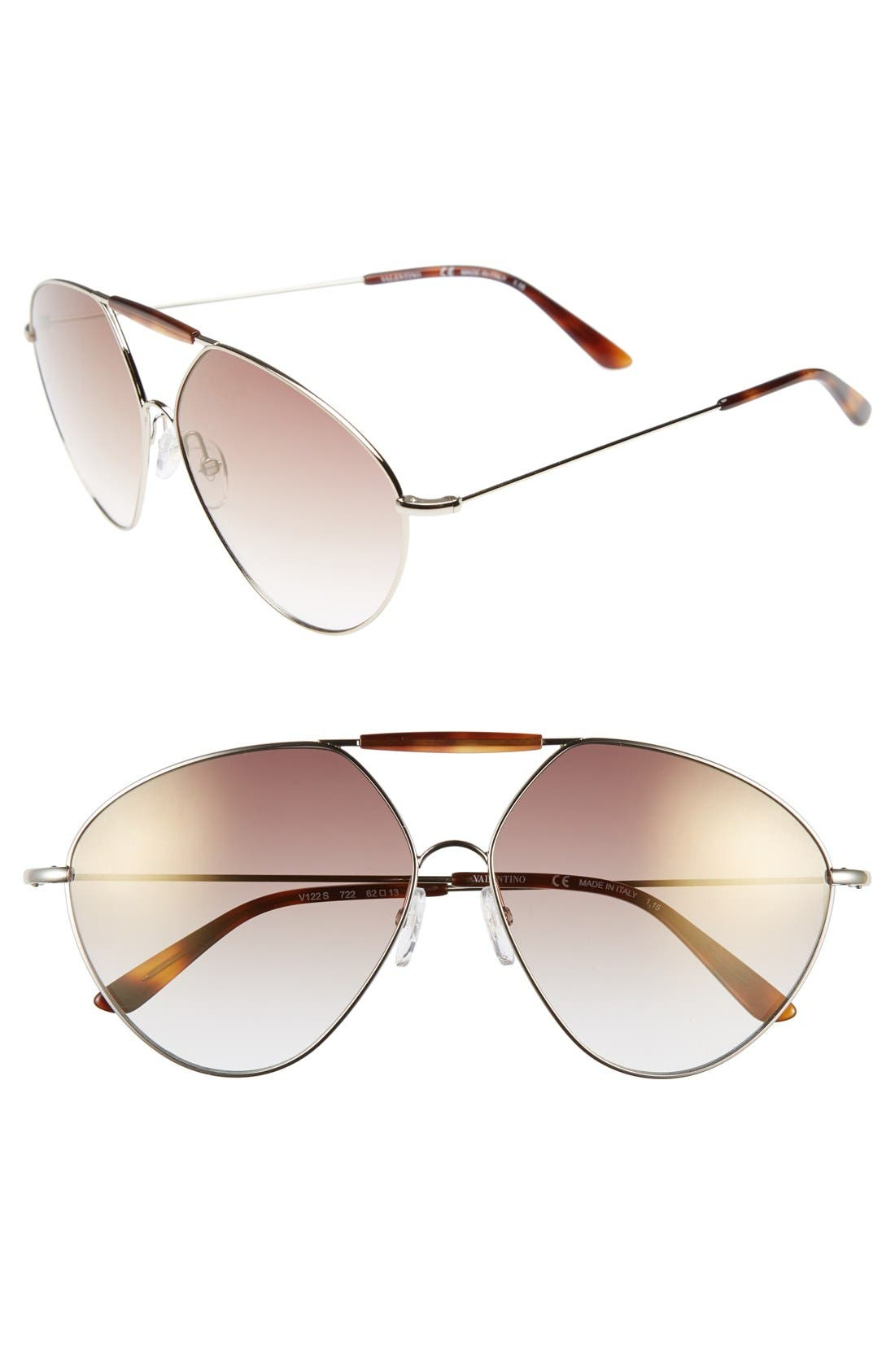Main Image - Valentino 'Runway' 62mm Aviator Sunglasses
