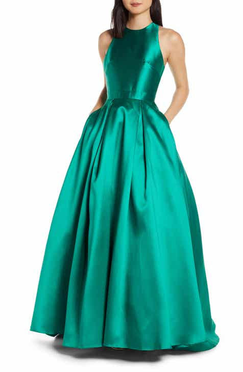 c9edbdd80a Mac Duggal High Neck Satin Ballgown