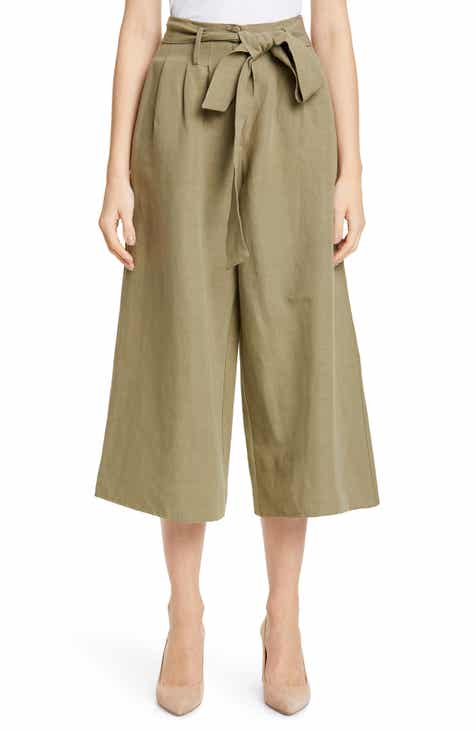 f1ffb0c7e7304 Co Belted Linen Blend Wide Leg Crop Pants
