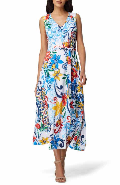 Tahari Floral Crepe Midi Dress