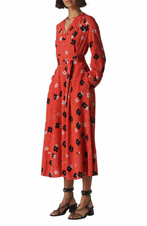7481f6f095328a Whistles Confetti Floral Print Long Sleeve Midi Dress