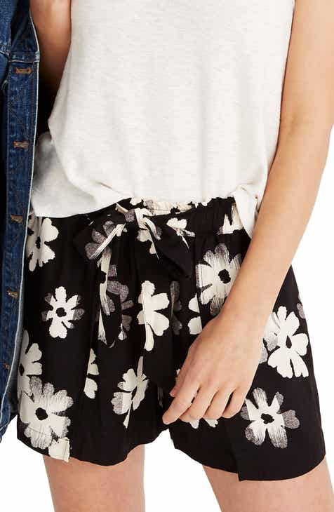 Madewell Ikat Floral Drapey Pull-On Shorts by MADEWELL
