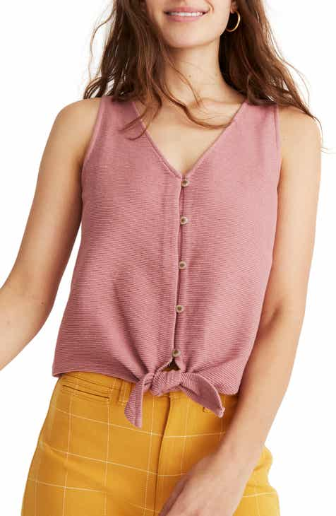 f336a16b0ebd0f Madewell Texture   Thread Button Front Tie Tank (Regular   Plus Size)