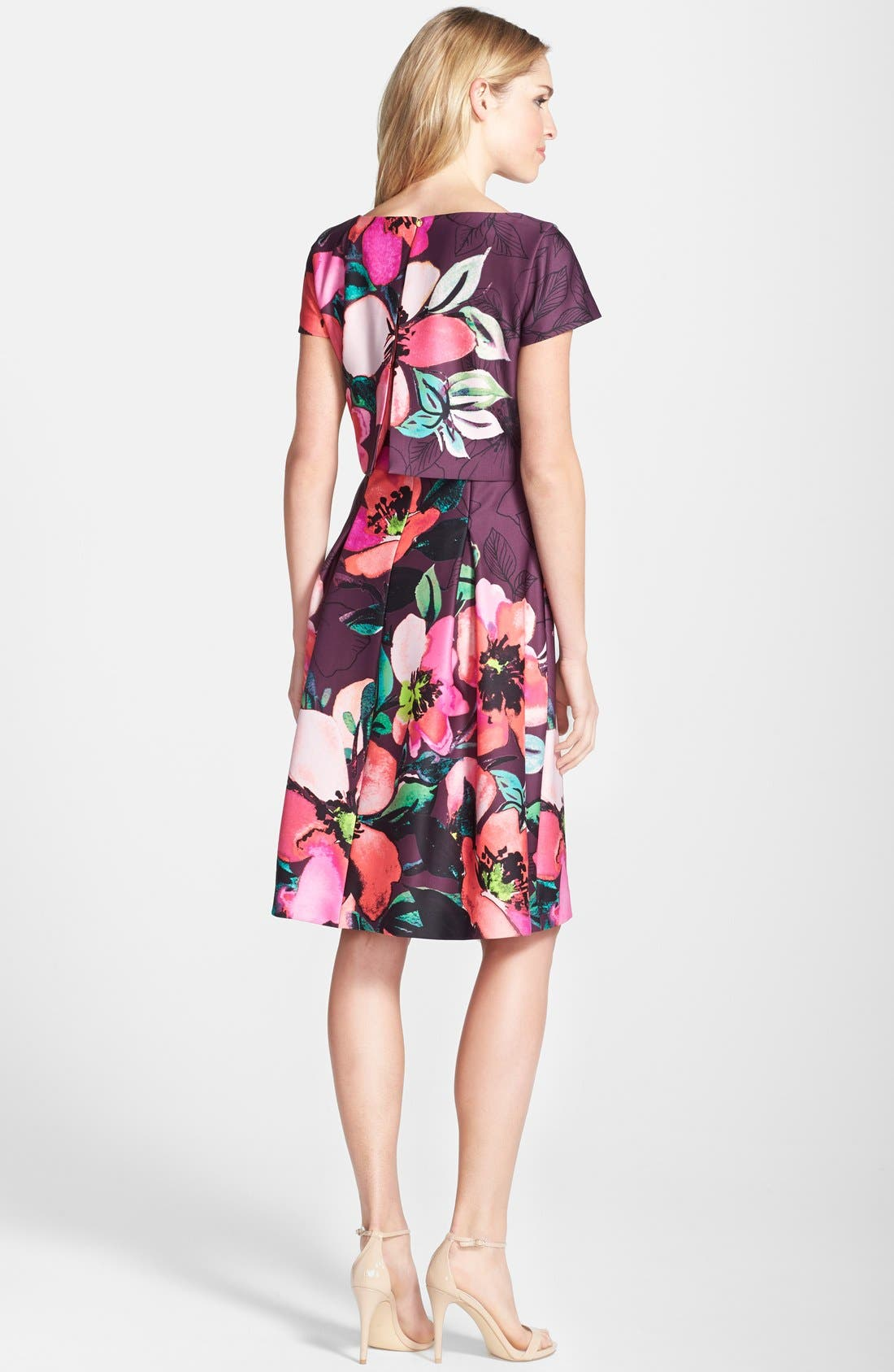 Alternate Image 2  - Vince Camuto Floral Print Scuba Fit & Flare Popover Dress (Regular & Petite)