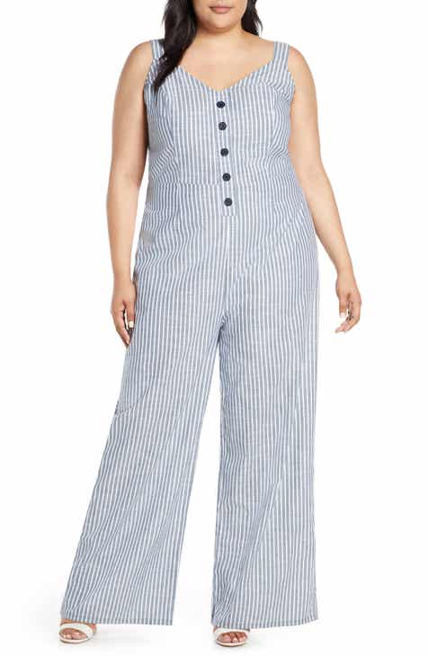 c0364305b74d RACHEL Rachel Roy Zarita Stripe Back Tie Cotton Jumpsuit (Plus Size)